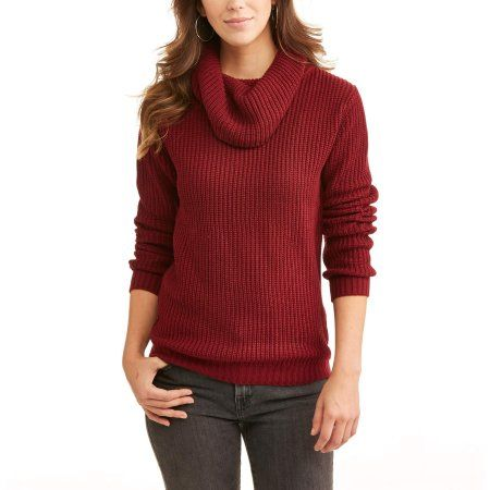 Willow & Wind Women's Cowl Neck Sweater, Size: Small, Red