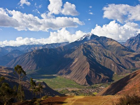 A View of the Sacred Valley and Andes Mountains of Peru, South ...