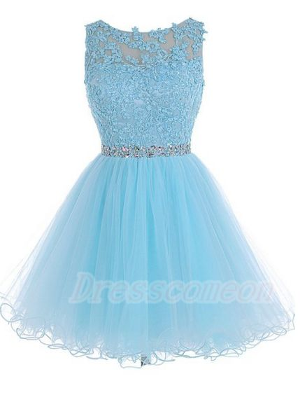 Simple Light Sky Blue Homecoming Dresses,Modest Homecoming Dresses,Open Back Cocktail Dresses http://www.luulla.com/product/556175/2016-light-sky-blue-homecoming-dresses-for-teens-cute-homecoming-dresses-lace-cocktail-dresses-cheap-graduation-dresses #ope