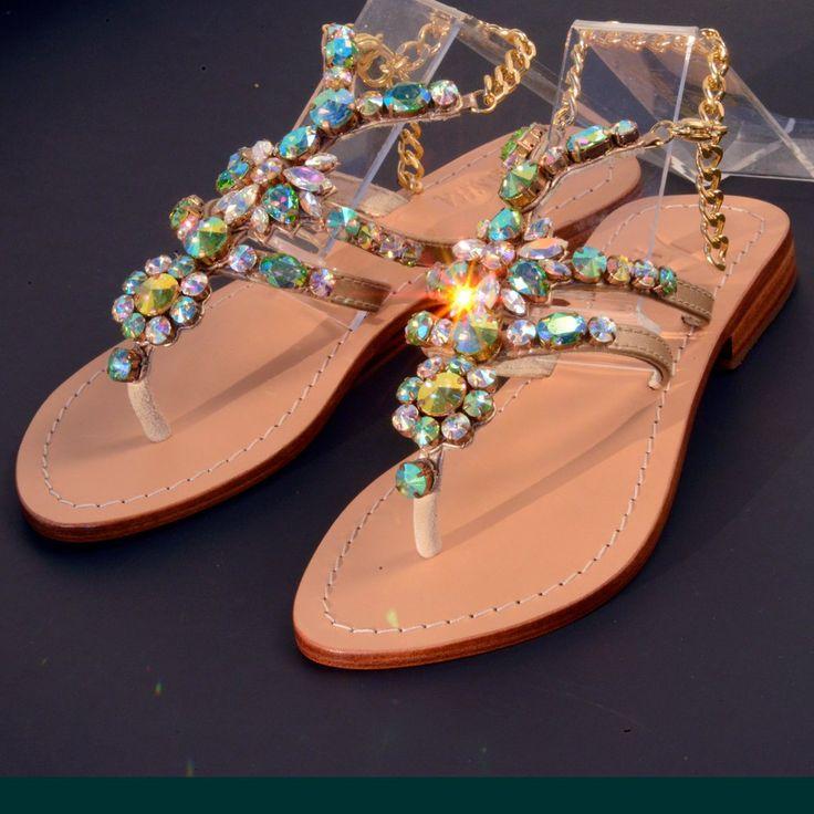 Pasha Delos  Flat Sandals  #genuineleather  #swarovski #bohemian #crystals #preciosa #asianstones #pasha #flatsandals #highgradeshoes #delos #jewelry #feetjewelry