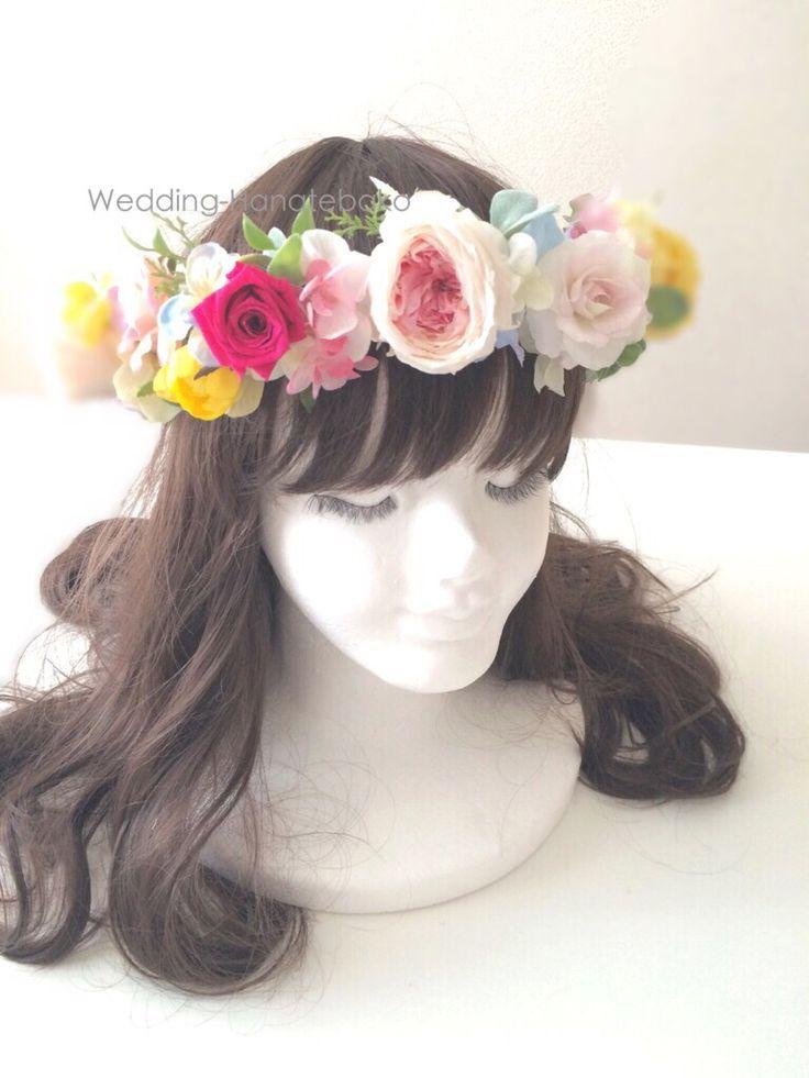 プリザーブドフラワーとアートのコンビのお花冠。  ウェディング花手箱