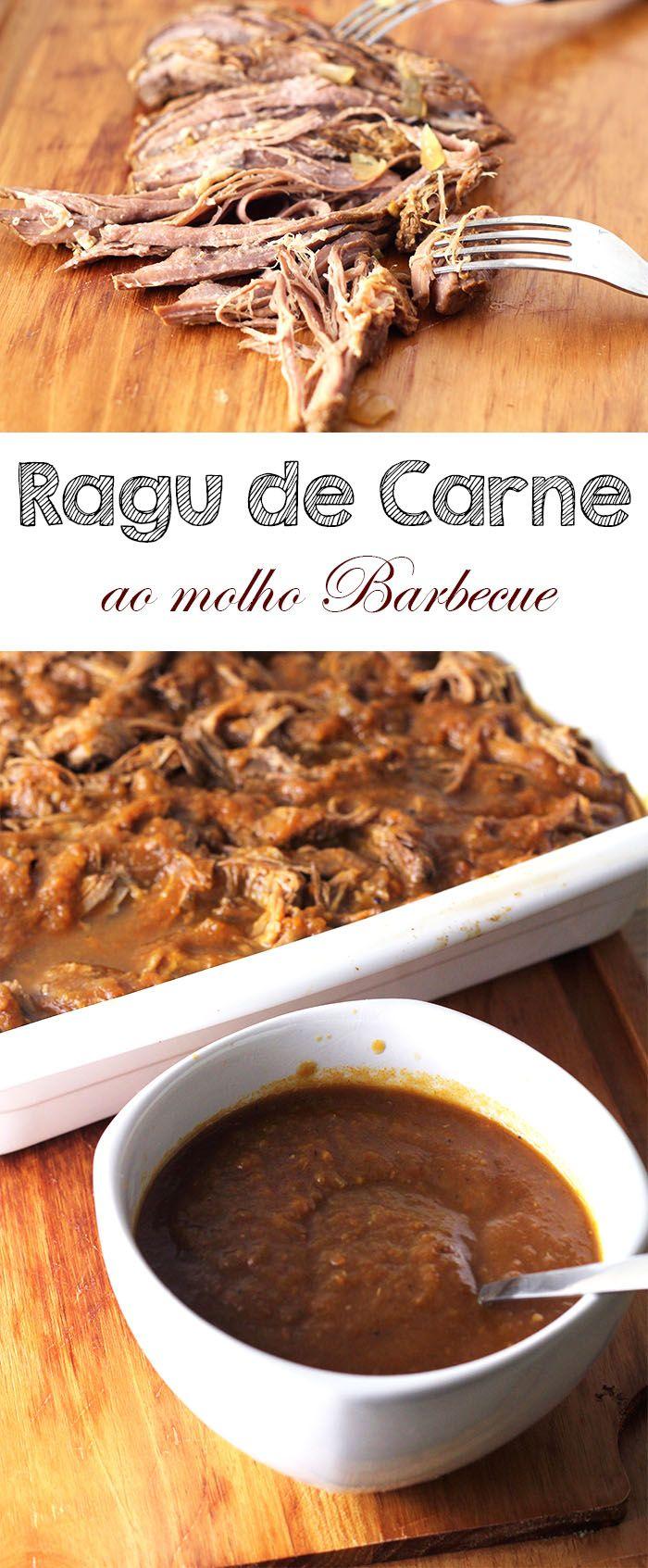 RAGU CARNE BOVINA COM MOLHO BARBECUE -- Receita de Ragu de Carne Bovina. Cozido lentamente com um toque de molho barbecue feito com o próprio molho do cozimento. Perfeito para sanduíches   temperando.com #receita #slowcook #ragudecarne