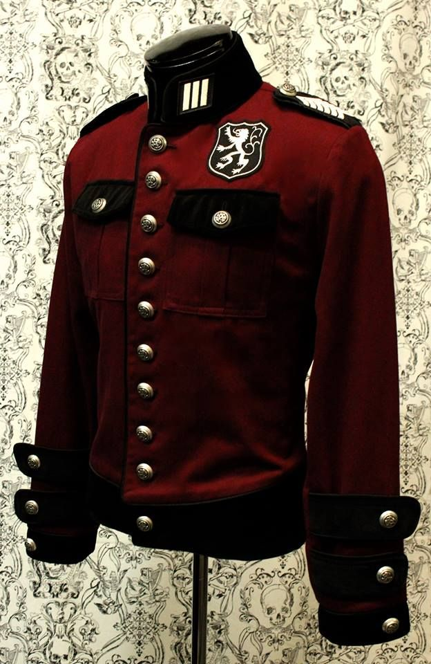 ROYAL MARINE JACKET - BURGUNDY DENIM WITH BLACK VELVET