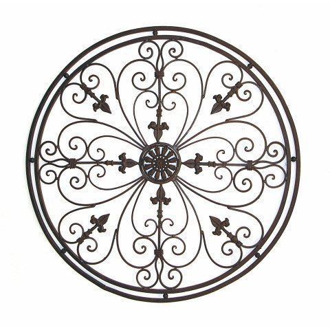 Tuscan Wrought Iron 36 Round Fleur De Lis Wall Grille By Chic Decor