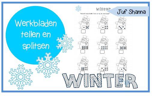 Thema winter - hoeveel sneeuwballen horen bij de sneeuwpop?