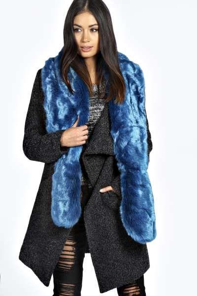 Sarah Longpile Faux Fur Extra Long Scarf