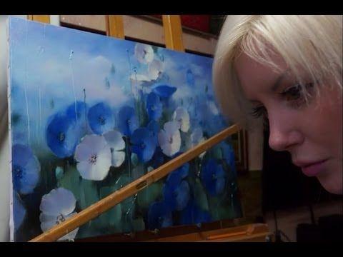 "Урок масляной живописи. ""Синий мак"" - YouTube"