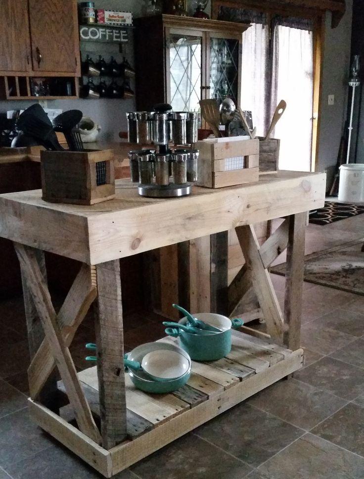 Kitchen Island color de madera que va bien con piso verdoso