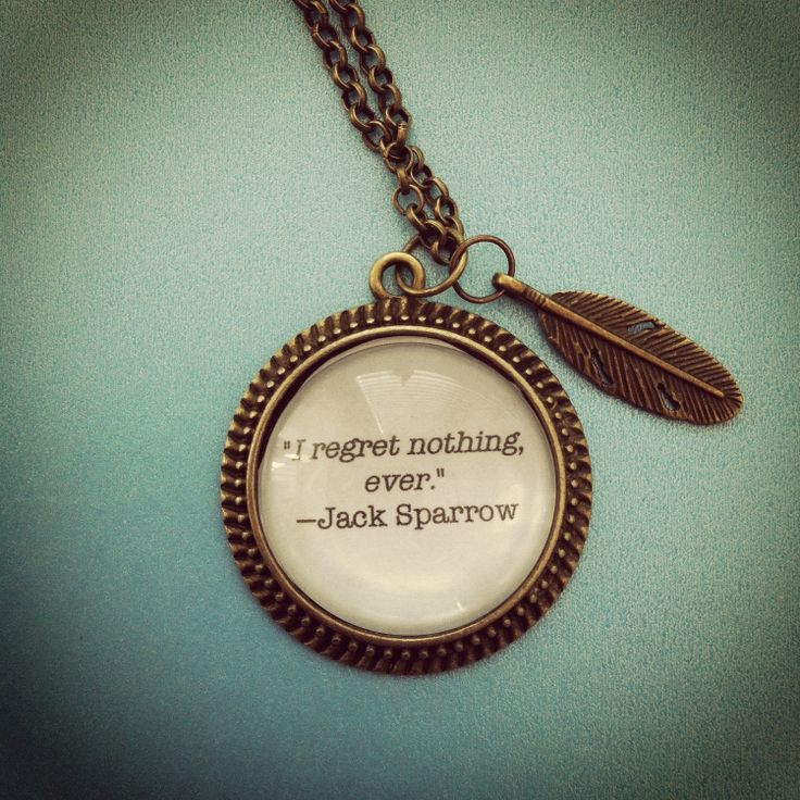 jack sparrow pirates of the caribbean quote necklace with feather charm. $25.00, via Etsy.