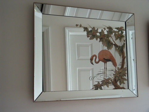 1950 S Vintage Turner Flamingo Mirror Art Original