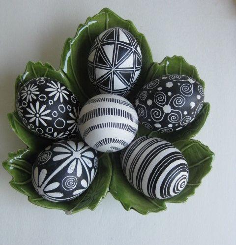Easter Eggs set of 6 chicken eggs in Black and White, Ukrainian Easter eggs Pysanky