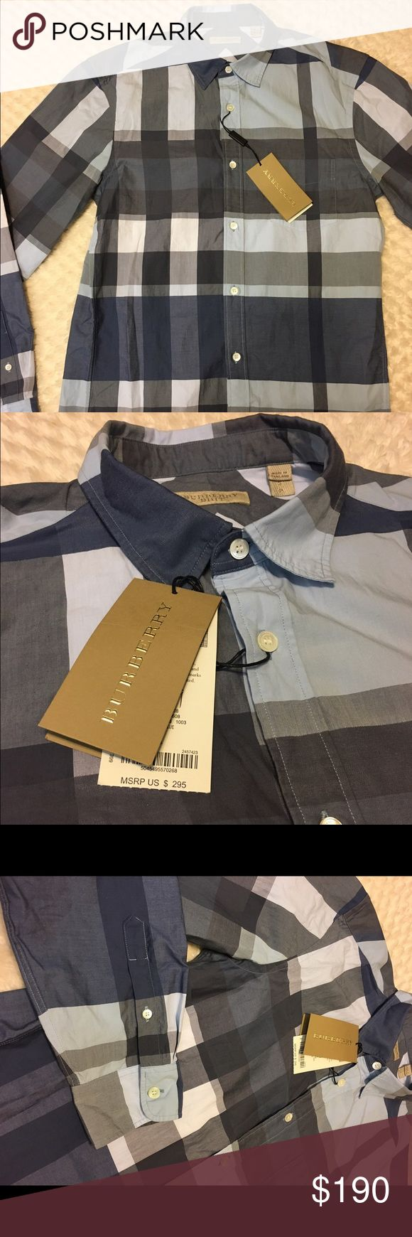 New authentic burberry shirt for men S New with tags authentic burberry shirt size small light blue color original price is 295$ long sleeves 100% cotton Burberry Shirts Casual Button Down Shirts