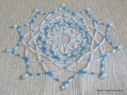 Free Seed Bead Ornament Patterns | Turquoise and White Handcrafted Seed Bead Ornament Cover