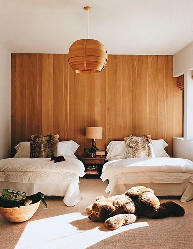 wire brushed oak laid vertically on one wall. aerin lauder's son's room in aspen