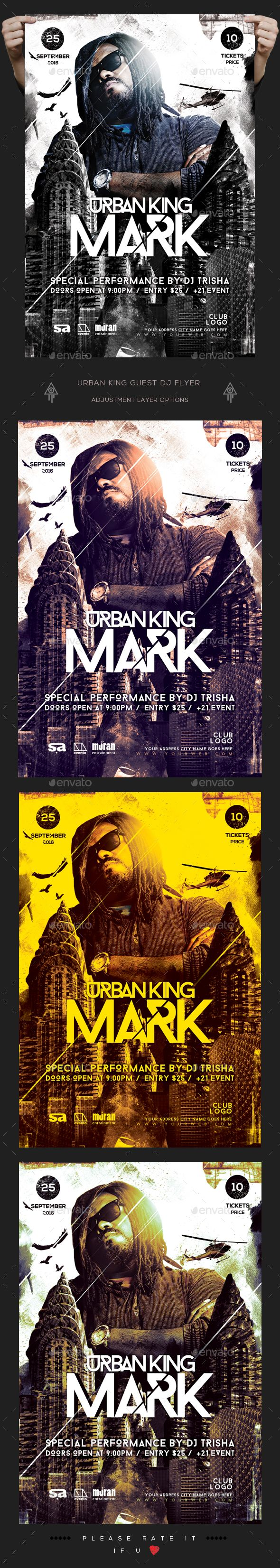 Urban King Guest Dj Flyer — Photoshop PSD #festival #special guest dj • Download ➝ https://graphicriver.net/item/urban-king-guest-dj-flyer/19191907?ref=pxcr