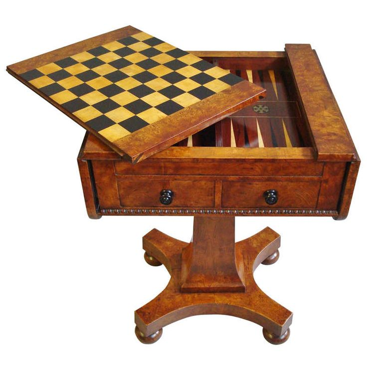 Excellent Late Regency Burr Elm Games Table | From a unique collection of antique and modern game tables at http://www.1stdibs.com/furniture/tables/game-tables/