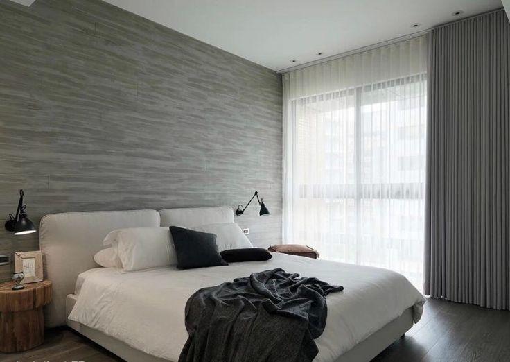 современный серый дизайн спальни