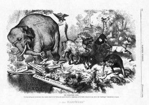 Ever wonder where on earth the Democrats got the donkey as a symbol of their party, and how the Republicans got theirs? I have. Well, it turns out a famous political cartoonist named Thomas Nast came up with both back in 1874.