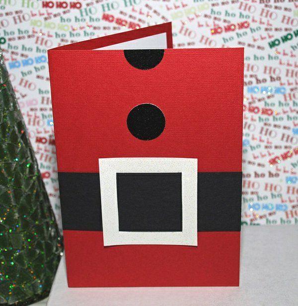Schöne Weihnachtskarten selber basteln weihnachtsmann gürtel