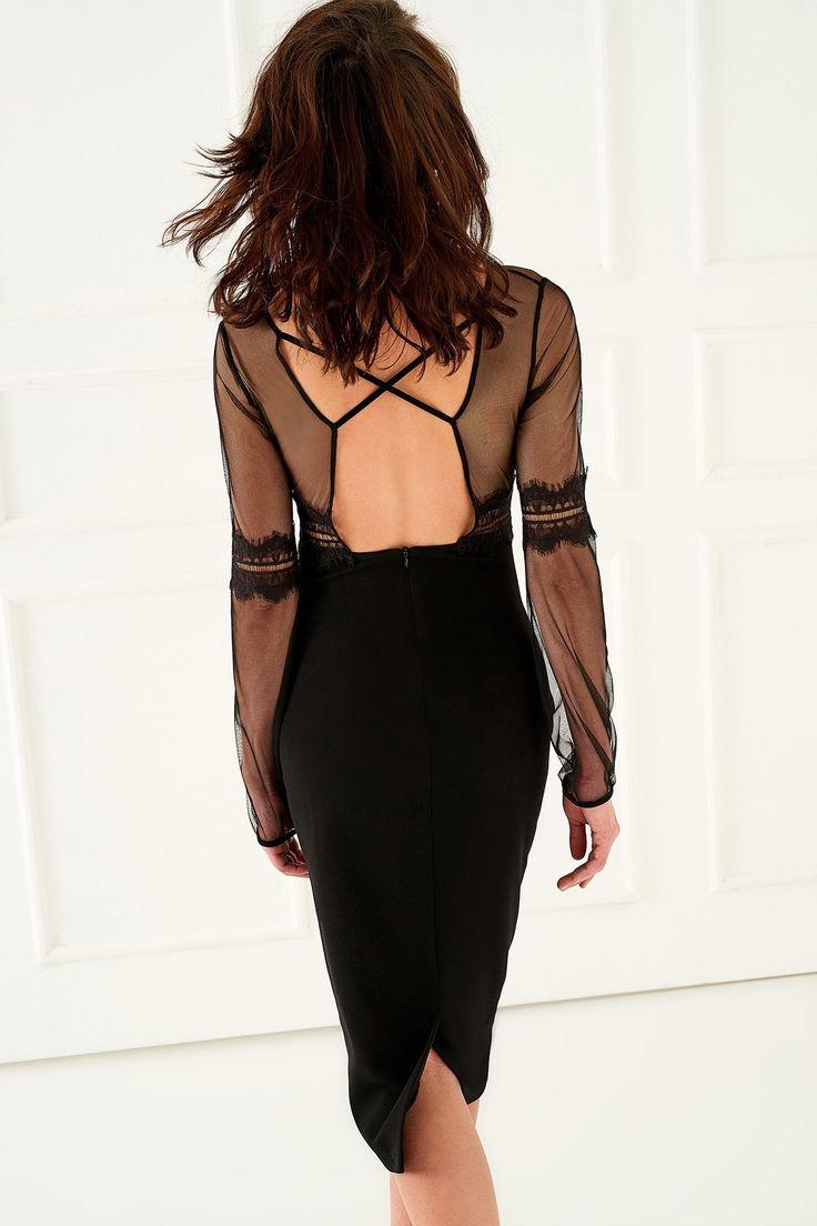 Siyah Dantel Detaylı Elbise TRENDYOLMİLLA | Trendyol