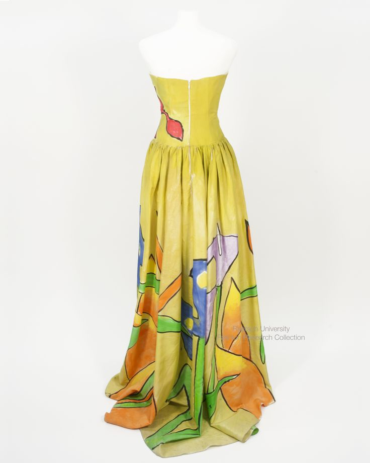 Hand-painted yellow silk evening dress by Pat McDonagh. FRC 2013.00.019