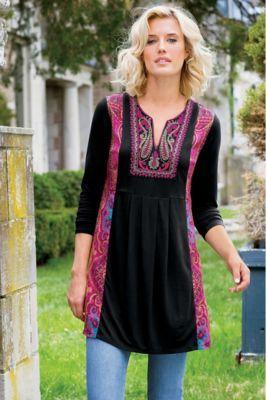 Kashmir Tunic Ii - Embroidered Tunic, Global Print Tunic | Soft Surroundings
