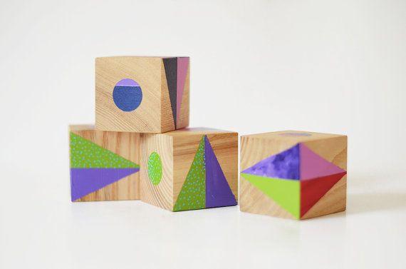 Wooden blocks set  Designer toy  Art toy  OOAK  One of by Lapalai