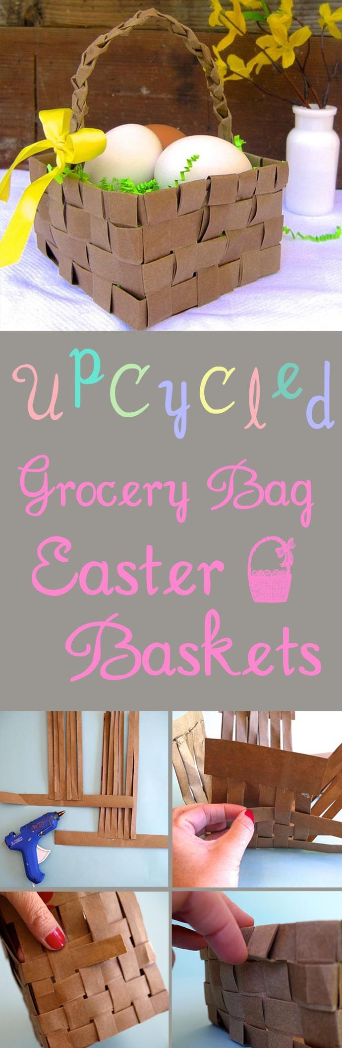 Weave your own basket with paper grocery bags! Super fun project with the kids. #DIY #Easter