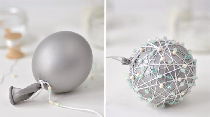 Beaded string wrapped around inflated balloon | How to make bead string baubles | Tesco Living
