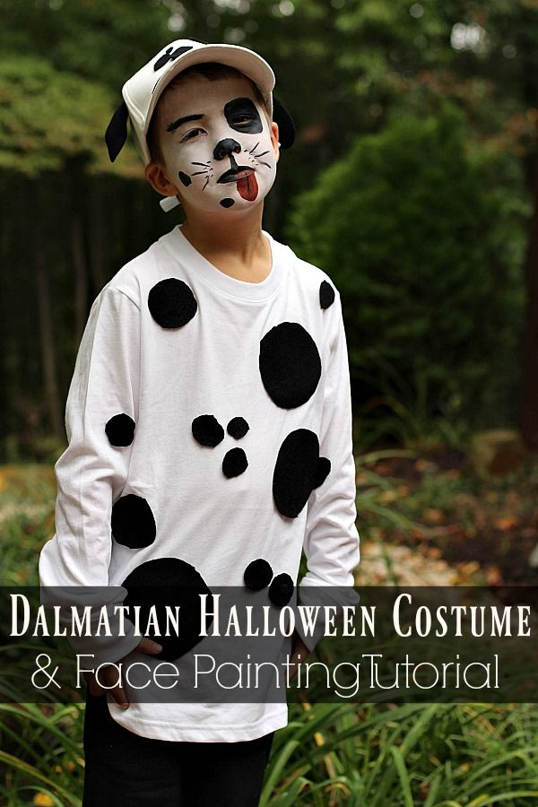 Need some Halloween costume inspiration?  See how I put together this easy Dalmatian costume using items I had around the house and Snazaroo face paint! #Snazoween #ad