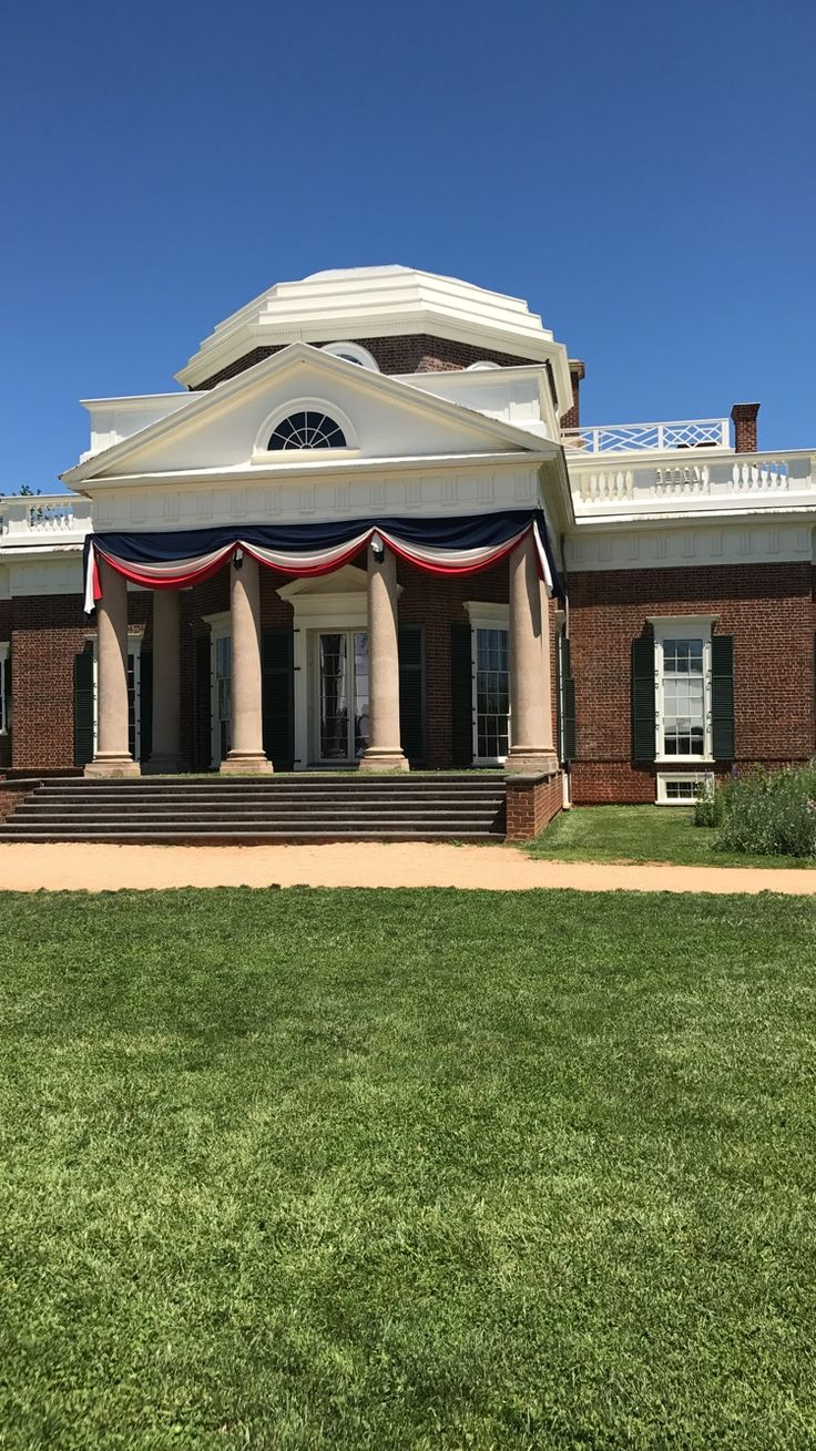 Jefferson's house in Monticello. It was designed by Jefferson.He grew tobacco on the plantation. You can see this house on the back of the 5 cents coin.