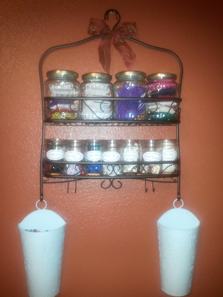 Shower Rack Storage For Mason Jars For Sewing