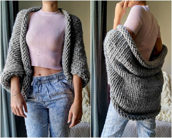Chunky Knit Cardigan Slouchy Knit Wool Sweater by TheSnugglery