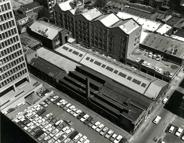 Elevated view of buildings between Bourke, King and Little Bourke Streets and Goldsborough Lane, by Wolfgang Sievers, 1968. Melbourne Australia