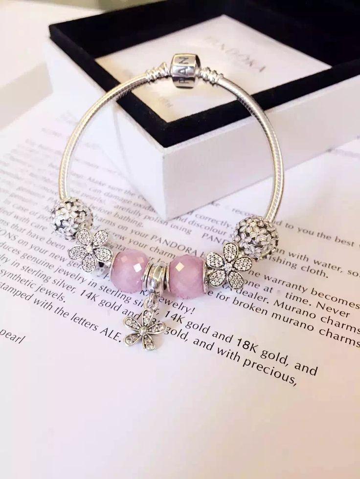 50% OFF!!! $199 Pandora Charm Bracelet Pink White. Hot Sale!!! SKU: CB01859 - PANDORA Bracelet Ideas