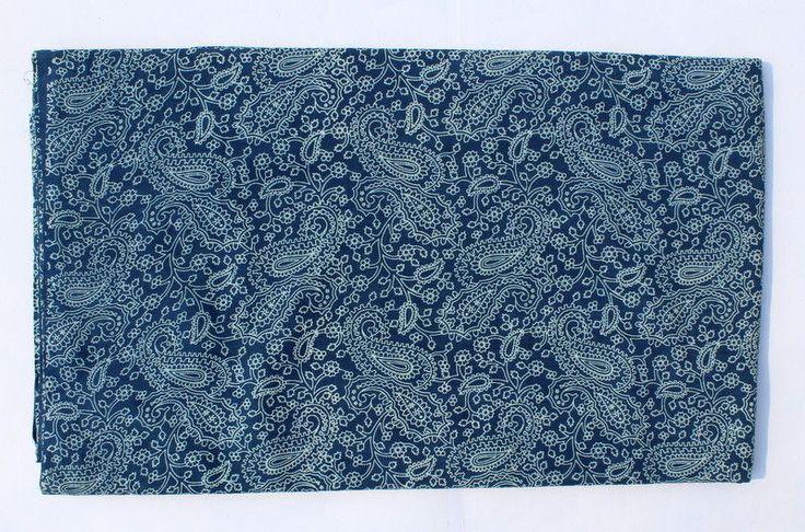 10 Yard Indigo Blue Color Cotton Voile Hand Block Print Fabric Natural fabric #Handmade