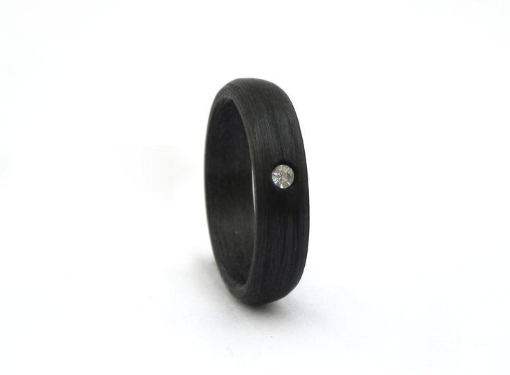 Pierścionek włókno węglowe Swarovski | Gold King