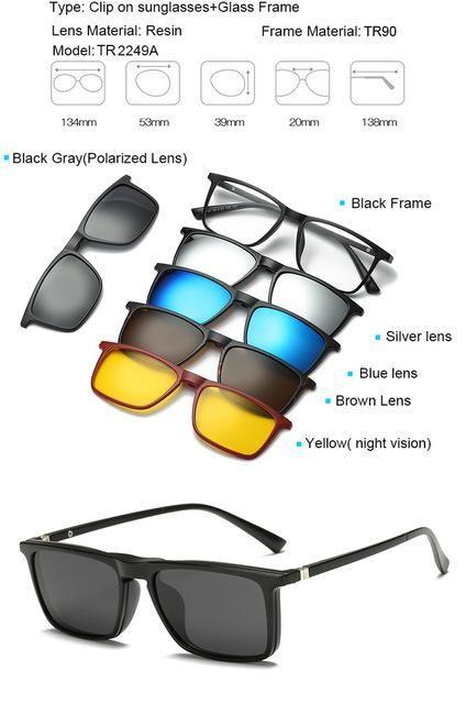 cd22102aaf 6 in 1 sunglasses clip on sunglasses frame myopia eyeglasses glasses tr90  frame for women men magnetic lens sunglasses 5 in 1