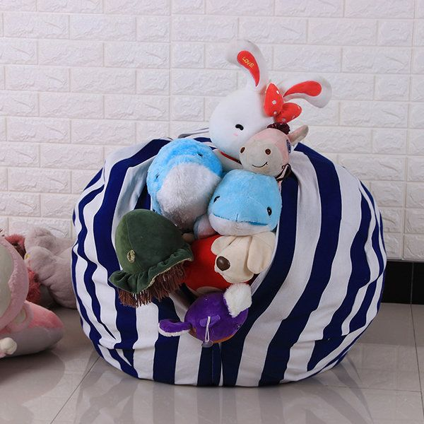 Home Large Capacity Stuffed Animal Storage Bean Bag Canvas Chair  Organizer for Kids' Plush