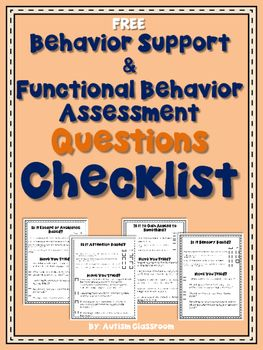 Finally  making it a bit easier  to figure out what is going on with behaviors...Behavior Support & Functional Behavior Assessment Checklist (Free) #autism #classroom #autismclassroom Pinned by AutismClassroom.com Follow us at https://www.pinterest.com/autismclassroom