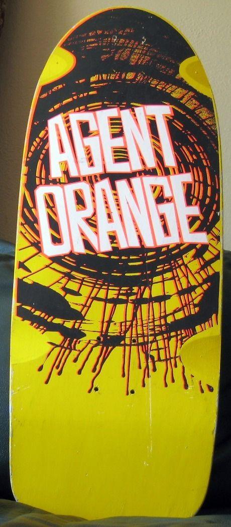 Rare vision agent orange skateboard vintage skateboardsskateboard