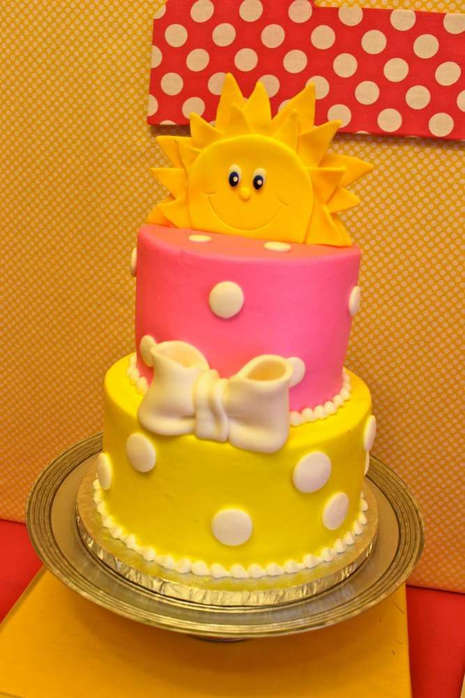 Very fun cake at a You are My Sunshine birthday party! See more party planning ideas at CatchMyParty.com!