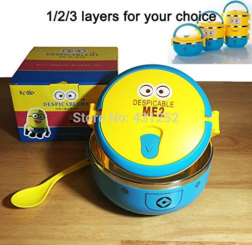 1 Layer Cute Cartoon Minion Lunch Box For Kids With Plastic Tiffin Boxes Thermal Bento For School St @ niftywarehouse.com