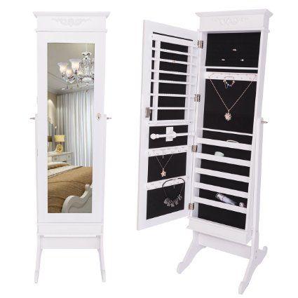 DXP Schmuckschrank Spiegelschrank Standspiegel 149 x 42 x 47 cm Schmuckkasten Spiegel Weiß Elegant Design JCYJ14