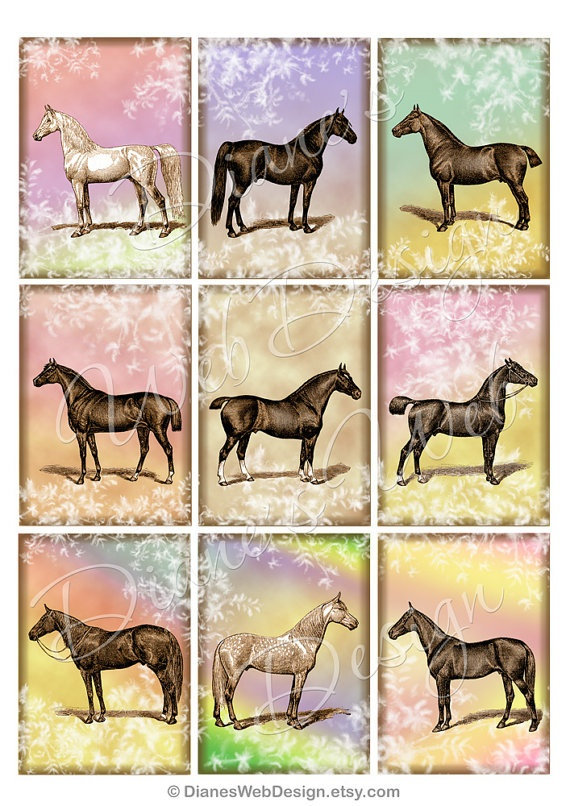 Horses Gift Tags ACEO digital collage sheet by dianeswebdesign, $4.99