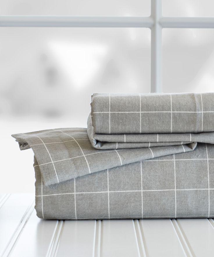 Gray Windowpane Flannel Sheet Set Zulily Let S