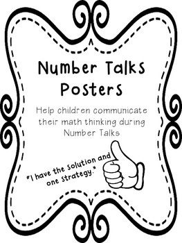 Help children communicate their mental math thinking during Number Talks using these two posters. The first poster has prompts for students to use to communicate their thoughts.The second poster has the hand symbols used by Sherry Parrish's team in the DVD.