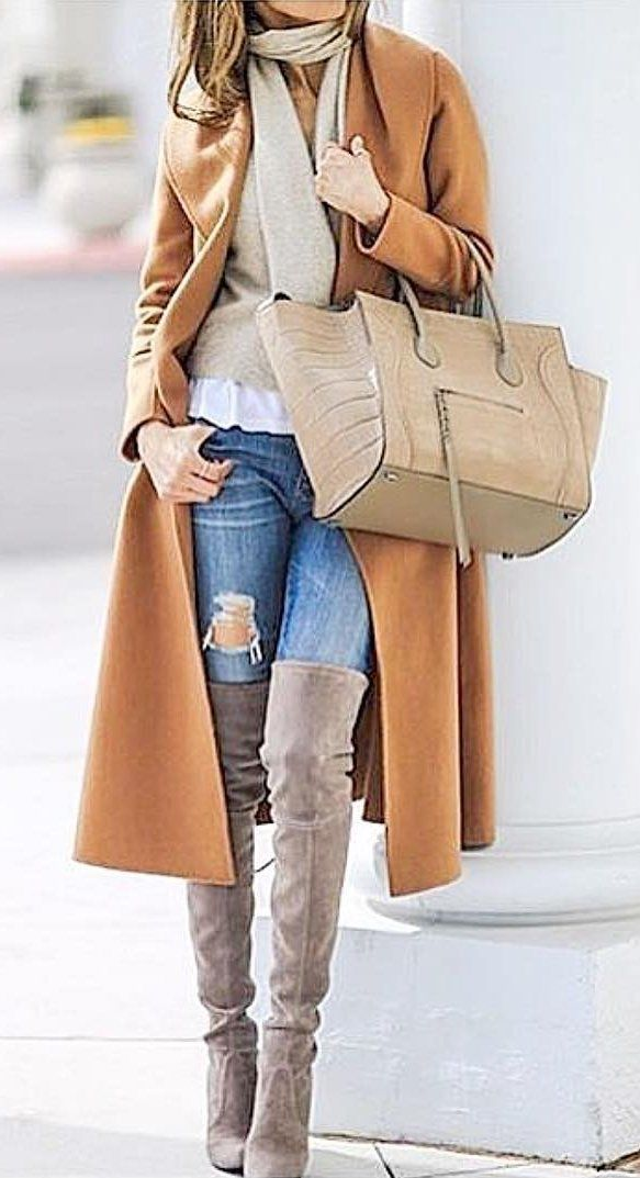 #preppy #fashion /  Camel Coat // Cream Scarf // Camel Tote Bag // Brown Over The Knee Boots // Destroyed Skinny Jeans