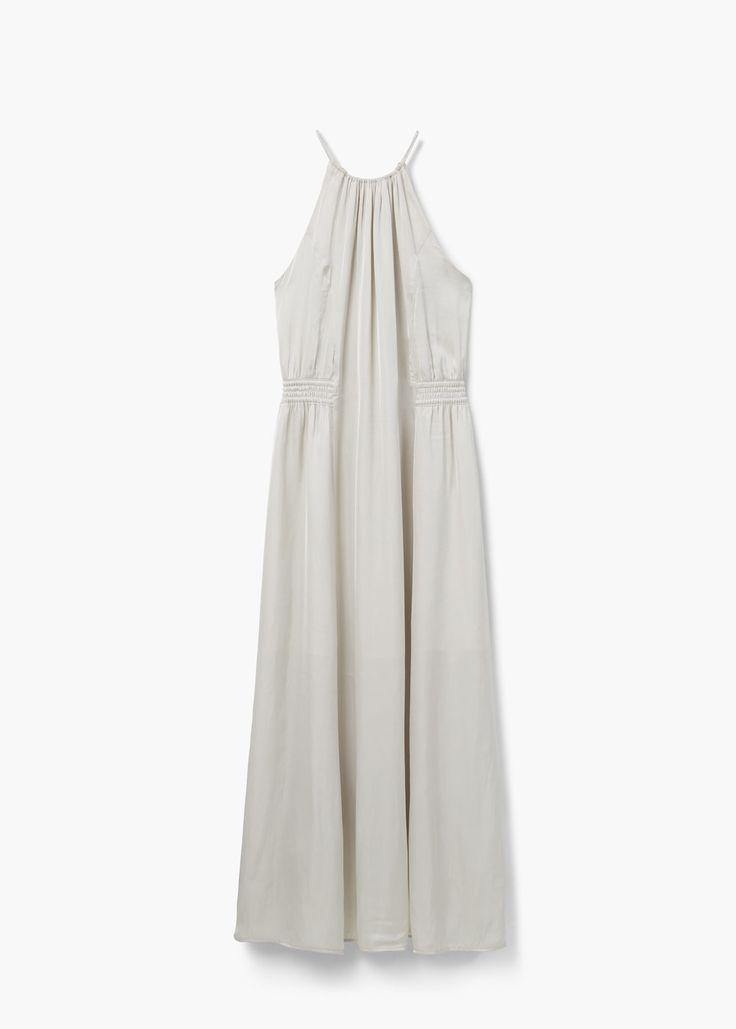 Vestido comprido acetinado | MANGO