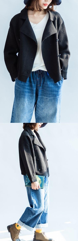 Stylish-black-woolen-coats-double-breast-short-winter-jackets-casual-style